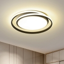 Cycle Small/Large Flush Mounted Light Minimalist Metal Black/Gold Finish LED Ceiling Mount Lamp for Bedroom