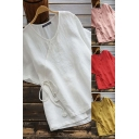 Casual Women's Blouse Plain Drawstring Wrap Side Round Neck Short Sleeves Relaxed Fit Pullover Blouse Shirt