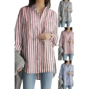 Stylish Womens Shirt Striped Pattern Roll-up Sleeve Stand Collar Button-up Curved Hem Loose Longline Shirt Top