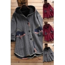 Vintage Women's Jacket Patchwork Contrast Trim Button Fly Side Split Cable Knit Long-sleeved Relaxed Fit Hooded Jacket