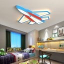 Small/Large Plane Flush Mount Ceiling Light Cartoon Iron Blue-Red/Yellow LED Flush Lamp in Warm/White/3 Color Light