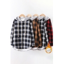 Warm Leisure Shirt Plaid Print Sherpa Lined Long Sleeve Hooded Button Up Curved Hem Loose Shirt Top