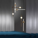 Horizontal/Vertical Acrylic Pendulum Light Post-Modern White/Gold LED Ceiling Pendant Light in Warm/White Light, Small/Large