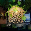 House Shaped Bistro Plant Pendant Lighting Countryside Rope 1 Bulb Beige Ceiling Light with Scalloped Edge