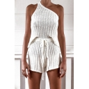 Stylish Ladies Set Ribbed One Shoulder Regular Fit Tank Top & Relaxed Shorts Set in White