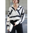 Girls Chic Shirt Stripe Print Long Sleeve Notched Collar Button-up Loose Fit Shirt in White