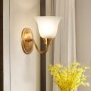Frost Glass Flared Wall Light Kit Minimalist 1 Bulb Bedside Wall Mount Fixture in Gold