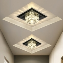 Square Mini Flush Mount Recessed Lighting Decorative Crystal Clear/Black/Tan LED Ceiling Light in Warm/White Light/Third Gear