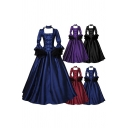 Womens Vintage Solid Color Dress Bell Sleeve Choker Bow-tied Long Pleated Swing Dress