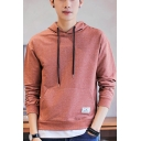 Men's Simple Fashion Label Pacthed Long Sleeve Casual Sports Drawstring Hoodie