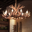 Faux Antler Bistro Hanging Chandelier Country Resin 4/6/11 Heads White/Coffee Pendant Ceiling Light