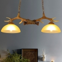 Beige Glass Bowl Island Pendant Cottage 2-Head Dining Room Hanging Lamp with Bare Wood Top