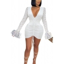 Trendy Women's Bodycon Dress Sequined Detail Long Flare Cuff Sleeves Ruched Front V Neck Slim Fitted Mini Bodycon Dress