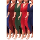 Basic Women's Bodycon Dress Solid Color Wrap Front Half Sleeves Asymetrical Hem Fitted Midi Bodycon Dress