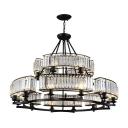 1/2-Tier Prismatic Crystal Chandelier Modern 8/10/18-Head Black Suspension Lighting for Restaurant