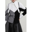 Fancy Women's Shirt Contrast Panel Color Block Button Fly Point Collar Long Sleeves Regular Fitted Shirt