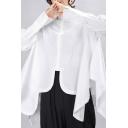 Basic Women's Shirt Plain Button Fly Asymmetrical Hem Long Sleeves Turn-down Collar Relaxed Fit Shirt
