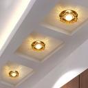 Amber Crystal Flower Blossom Flush Light Minimalist LED Ceiling Mounted Lamp in Yellow/White Light for Foyer