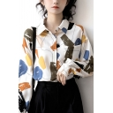 Trendy Women's Shirt Blouse Color Painted Chest Pocket Button-down Spread Collar Long Sleeves Regular Fitted Shirt Blouse