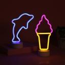 Kid LED Mini Night Light White Ice Cream/Dolphin Shaped Battery Table Lamp with Acrylic Shade