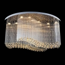 Stainless Steel Wavy Ceiling Light Fixture Contemporary Crystal Living Room LED Flush Mount Lamp, Small/Medium/Large