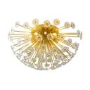 Crystal Floweret Semi Mount Lighting Stylish Modern 3/5-Head Bedroom Ceiling Flush Light in Gold