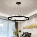Rectangle/Round Cut-Crystal Pendant Light Simple Sitting Room LED Ceiling Chandelier in Black, 23.5