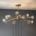 Crystal Flower Brass Chandelier Branchlet 6/9/15-Bulb Post-Modern Ceiling Suspension Lamp