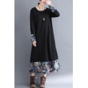 Elegant Women's Tribal Dress Graphic Pattern Contrast Panel Round Neck Long Sleeves Relaxed Fit Long Swing Dress