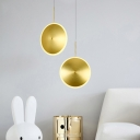 Aluminum Flying Saucer Ceiling Pendant Post-Modern Brass LED Suspension Lighting for Dining Room, 8