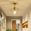 Clear Crystal Flower/Scroll/Bell Pendulum Light Traditional 1 Bulb Aisle Ceiling Pendant Lamp in Gold