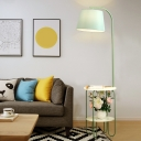 Tapered Fabric Floor Lamp Macaron 1-Head Blue/Green/Yellow Floor Standing Light with 2-Layer Tray
