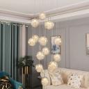 Ball Multi-Light Pendant Modern Clear Glass 15/30 Bulbs Chrome Finish Hanging Light Fixture