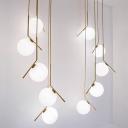 Spherical Duplex Room Multi Pendant Cream Glass 5/6/8 Bulbs Modern Hanging Light in Black/Gold