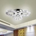 Beveled Cut Crystal Ring Ceiling Light Minimalist 3-Head Clear LED Flush Mounted Light for Dining Room