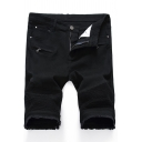 Fancy Men's Shorts Solid Color Frayed Hem Side Pockets Button Fly Zip Detail Pleated Knee Length Slim Fitted Shorts