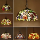 3 Bulbs Pendant Light Tiffany Morning Glory/Grape/Sunflower Patterned Dome Stained Glass Hanging Lamp in Black with/without Pull Chain