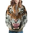 Mens Designer Hoodie 3D Tiger Printed Long Sleeve Drawstring Pouch Pocket Loose Hoodie in Brown