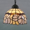 Hand Cut Glass White Drop Pendant Bowl Shaped 1-Bulb Tiffany Style Ceiling Hang Light