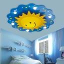 Cartoon Morning Sun Ceiling Light Wooden 7-Light Childrens Bedroom Flush Mount in Blue