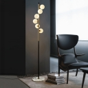 Spiral Ball Floor Light Postmodern Ivory Glass 6 Bulbs Gold and Black Stand Up Lamp