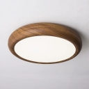 Dark Wood Grain Round Flush Mount Nordic Acrylic Small/Medium/Large Surface Mounted LED Ceiling Lamp in Warm/White/3 Color Light