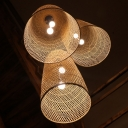 Elongated Dome Living Room Hanging Light Kit Bamboo 2 Bulbs Asia Pendant Chandelier in Wood, 16