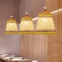 Asian Paneled Bell Hanging Lamp Rattan 1-Light Restaurant Ceiling Pendant in Beige/Brown/White