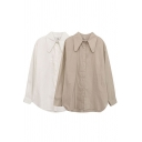 Trendy Women's Shirt Blouse Solid Color Button-down Point Collar Long-sleeved Side Split Regular Fitted Shirt Blouse