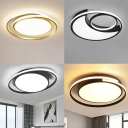 Small/Large Bedroom LED Ceiling Light Nordic White Flush Mount Lamp with Oval Acrylic Shade