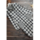 Fancy Women's Blouse Plaid Pattern Front Pocket Button Detail Turn-down Collar Long Sleeves Regular Fitted Tunic Pullover Blouse