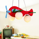 Wooden Helicopter Pendant Lighting Cartoon 3-Bulb White/Red Chandelier Lamp with Ball Milk Glass Shade