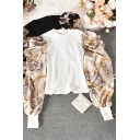 Designer Blouse Fake Two Piece Baroque Print Puff Sleeve Crew Neck Knit Slim Fit Blouse Top for Girls