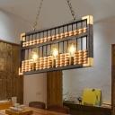 Abacus Restaurant Island Light Fixture Metal 3 Lights Decorative Hanging Pendant in Black/Wood